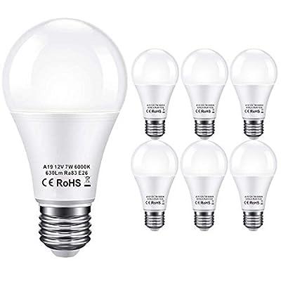 12V LED Light Bulb 60Watt Equivalen E26 7W 630Lm 12 Volt Low Voltage Lights AC/DC 11-18V A19-12volt Battery Power Off Grid Solar Panel RV Marine Boat Landscape Lighting- 6 Pack