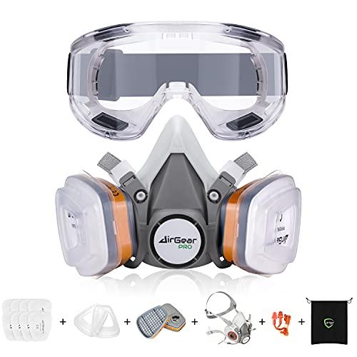 AirGearPro Kit Masque de Protection Respiratoire Réutilisable, Anti poussière, Anti gaz avec Filtres et Lunettes de Protection pour Peinture, Travaux, Bricolage, Ponçage