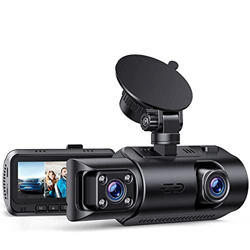 GPS Dashcam Dual Lens Autokamera mit Akku, 4K 3840x2160P Frontkamera, Infrarot-Cut Nachsicht Dash CAM mit 24/7 Parkmodus, 3.2 Zoll IPS 320°Auto Dashcam Loop-Aufnahme G-Sensor Max. 256GB