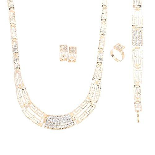 Yazilind Edel Gold überzogene Höhle Blumen Frauen Halsketten Armband Ring Ohrring 4 Stück Schmuck Sets (B)