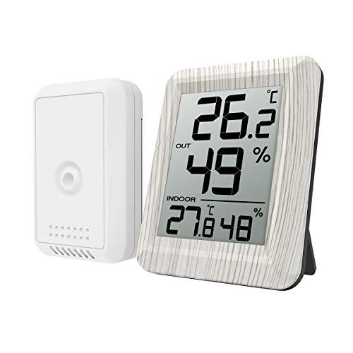 ORIA デジタル温湿度計 外気温度計 ワイヤレス 室内 室外 高精度 LCD大画面 置き掛け両用 華氏/摂氏表示 温室 ペット 温度管理 健康管理 インフルエンザ予防 見やすい おしゃれ 白い木目