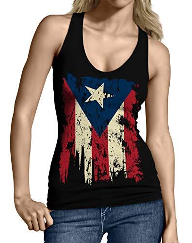 SpiritForged Apparel Vintage Distressed Puerto Rico Junior's Tank Top, Black Small