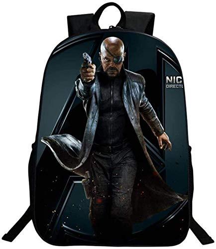 Mochila infantil de Iron Man, de Los Vengadores, mochila escolar, ocio, viajes, camping, cómoda y duradera, Iron4 (Negro) - DF32-4545S