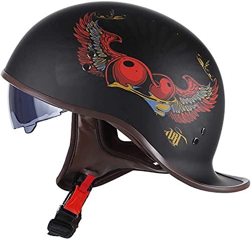 Motorbike Helmet Casco de motocicleta Medio casco de motocicleta Casco de scooter Casco jet Casco de motocicleta Medio casco abierto con gafas para motociclistas Certificación ECE iEvery 08012(Color: