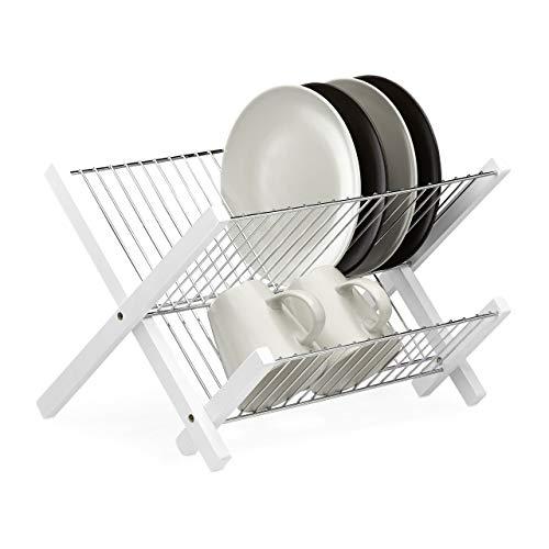 Relaxdays Abtropfgestell Edelstahl, 2 Etagen, klappbar, platzsparender Abtropfständer, HxBxT: 25,5 x 39 x 30 cm, weiß
