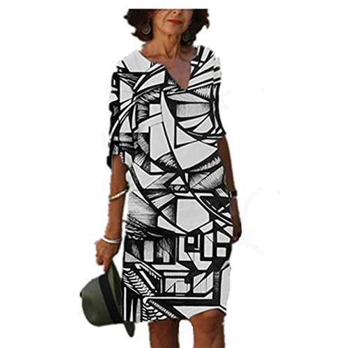 Sukienka letnie sukienki dekolt w serek sukienki na co dzień lniana sukienka bluzka sukienka kobiety w stylu retro koszula z nadrukiem bawełna i len Casual Plus rozmiar luźna tunika sukienka z tkaniny