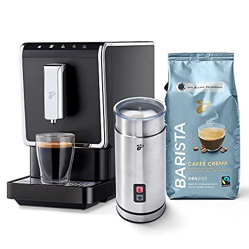 Tchibo Kaffee Vollautomat Esperto Caffè 1.1 (19 bar, 1470 Watt), Anthrazit (inkl. elektr. Milchaufschäumer aus Edelstahl und 1Kg Barista Caffè Crema)