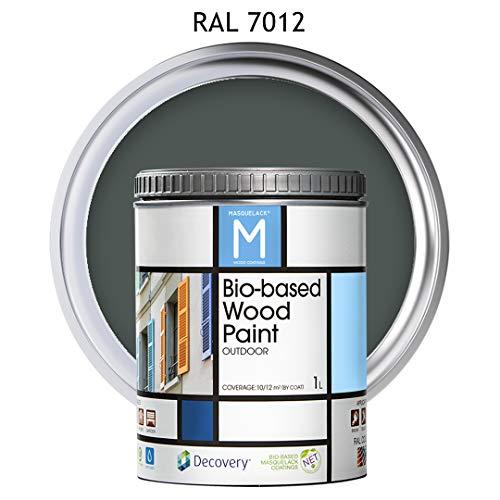 Pintura para Madera | Bio-based Wood Paint RAL 7012 | 1 L | para todo tipo de madera | Pintura madera exterior con un aspecto de acabado semi mate cálido y sedoso | Color Gris