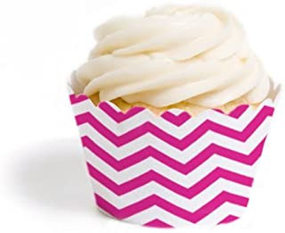 Dress My Cupcake Mini Cupcake Wrappers, Chevron, Fuchsia, Set of 18