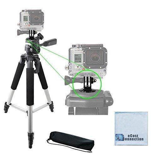 57' Inch Aluminum Tripod + Tripod Mount for ALL GoPro HERO Cameras + eCostConnection Microfiber Cloth