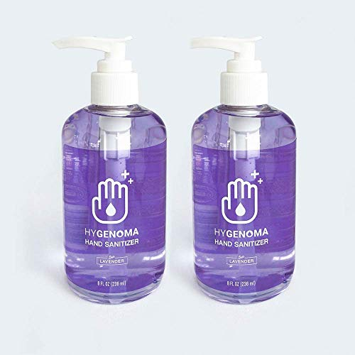 HYGENOMA Hand Sanitizer Clear Gel Alcohol Based Lavender Scented (2 Pack x 8 Fl Oz) with Aloe
