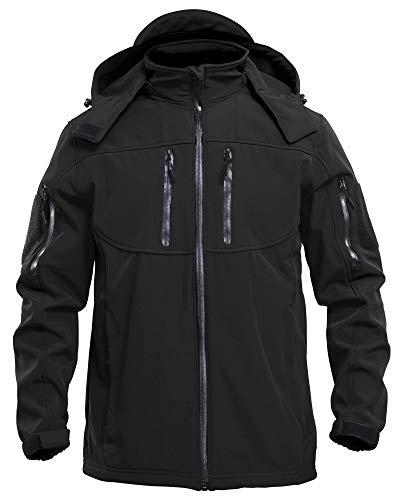 MAGCOMSEN Winter Jacket for Men Warm Waterproof Jacket Snowboard Jacket Ski Jacket Tactical Jacket Coat Parka Jacket Men with Hood Raincoat Black