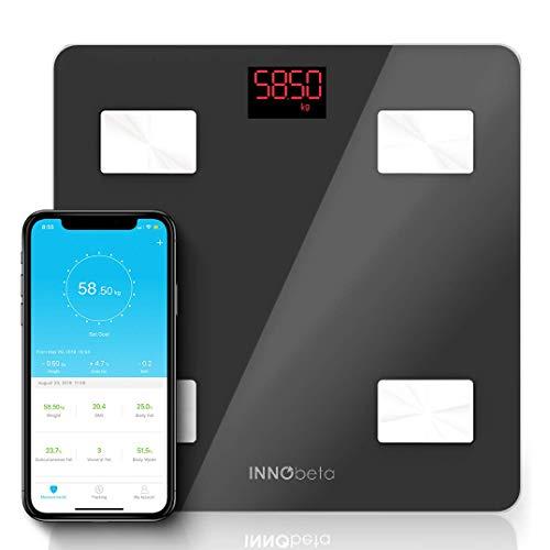 InnoBeta Fitfy Báscula Digital Inteligente con Bluetooth, Balanza de Baño, escáner del porcentaje de grasa corporal, analizador de composición corporal, calculadora del Índice de Masa Corporal, monitor de fitness, tecnología BIA, 400 libras/180kg de capacidad, con una APP, Baterías Incluidas, color blanco