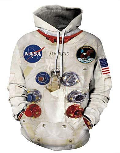 Rainbow Town Science and Technology Space Suit Hoodies for The Sci-Fi Fans Astronaut and Rockcts Cosplay Costumes S-5XL(Space Suit-B, L)