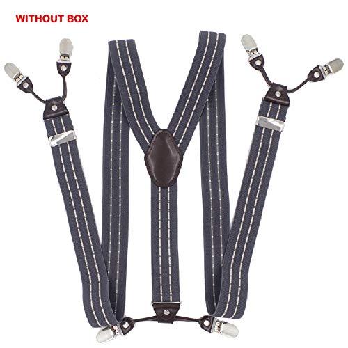 DIAOKUD Bretels Suspenders, Elastische 6-Clips Grijze Streep Suspenders Leren Mode Casual Broek Mannelijke Vintage Band Vader/Man Gift 3.5 * 120 Cm