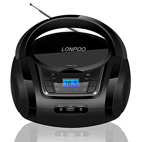 LONPOO Tragbarer CD-Player Stereo-Boombox mit UKW-Radio, Bluetooth-Audiostreaming, MP3, USB Eingang & AUX-in Anschluss & Kopfhöreranschluss, schwarz