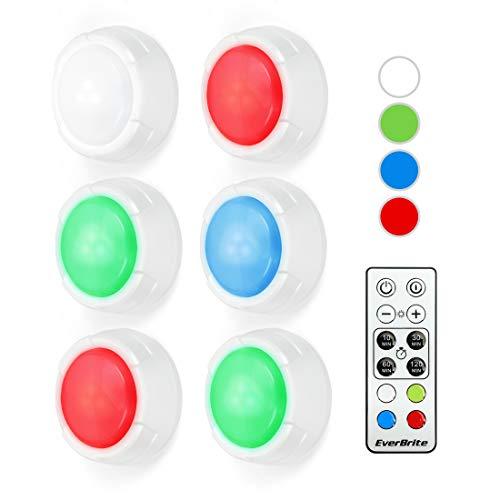 EverBrite Lot de 6 Lampes de Placard avec 4 Couleurs 10 Luminosités Réglables, Lampe Adhésive LED avec Télécommande pour Décor Intérieur, Cuisine, Entrée, Penderie, Etagère 18 Piles Incluses