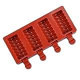 WEFH Moldes reutilizables para helados caseros, 4 cavidades, color rojo