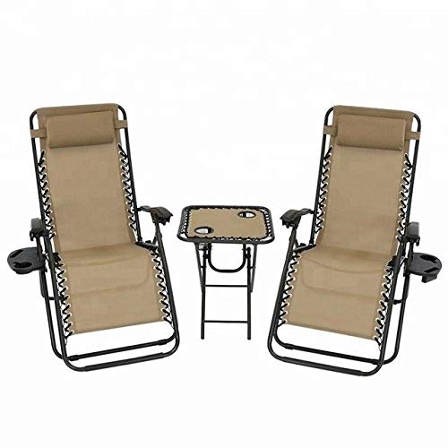 Two Outdoor Reclining Chairs with Pillow Cup Holders Leisure Zero Gravity LJDQJS