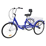 "MOPHOTO Adult Tricycles Three Wheel Cruiser Bike 7 Speed, Adult Trikes 24/26 inch Wheels Low Step-Through, Three-Wheeled Bicycles with Cargo Basket for Women, Men(Royal Blue, 26"" Wheel w/ 7 Speed"