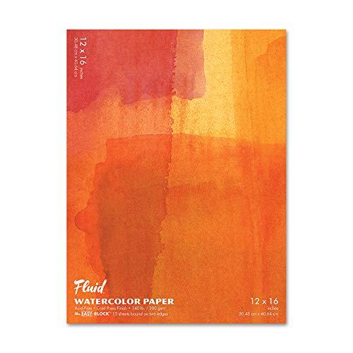 Fluid Watercolor Paper 881216 140LB Cold Press 12 x 16 Block, 15 Sheets