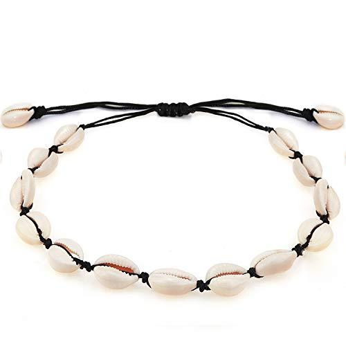 Suyi Collar De Conchas Naturales Collar Hecho A Mano De Playa De Hawaii Collar De Concha Ajustable para Mujer ABlack