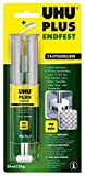 UHU 2-Komponentenkleber Plus Endfest, Glasklarer und höchst belastbarer 2K-Klebstoff in einer praktischen Doppelkammerspritze für einen Auftrag im korrekten Mischverhältnis, 25 g