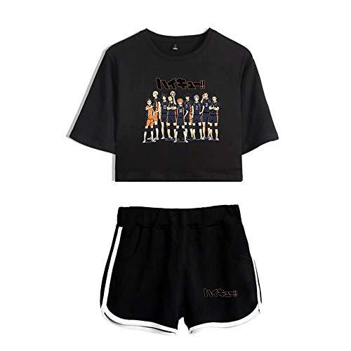 Unisex Haikyuu !! Haikyuu T-Shirt Crop Top Set Cosplay Japanisches Anime Haikyuu Cosplay Kostüm T-Shirt Zweiteiler Set,High School Volleyball Club T-Shirt 3D Pyjamas Set Yoga Kleidung Set Für Frauen