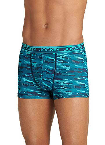 Jockey Men's Underwear Sport Max Mesh Trunk, Blue Camo, S