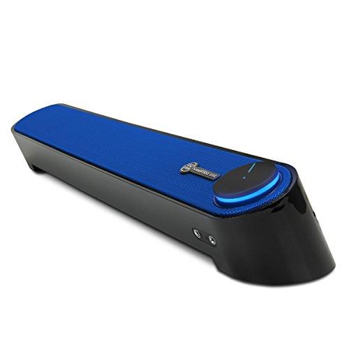 GOgroove Barra di Suono Soundbar Computer USB Altoparlante Subwoofer Passivo con Design Angolato per una Proiezione Potente del Suono, Jack da 3.5mm per Cuffie + Microfono e Controllo Volume - Blu