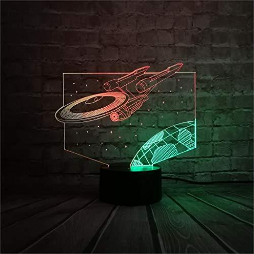 QTYUE 3D nachtlampje. Dimbare RGB-kleurwisselmodi voor kinderen, baby, slaapkamer, kantoor en camping, met acryl-flat & ABS-basis & USB-kabel, ruimteschip