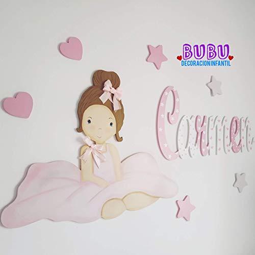 Conjunto Silueta de muñeca bailarina, 6 complementos de estrellitas y/o corazoncitos, y nombre con decoración