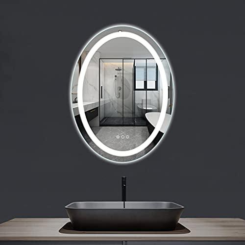 Amorho 50x70cm Oval Espejo Baño Espejo de Pared Espejo Colgante Dormitorio Función Antivaho con Luz LED Interruptor Táctil 19 Temperatura de Color Ajustable