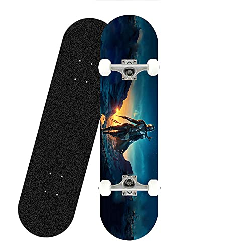 Star Wars Skateboard Mandalorian Kreativ Design Kinderskateboard Komplettboard Longboard Skatebo Seven-Layer Ahorn-Skateboard für Kinder Anfänger Erwachsene Jugendliche Straße und Fachleute,L80xW20CM