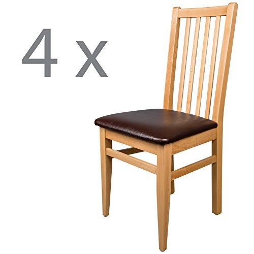 Schwarzwald Massivholz Esszimmerstuhl ST07 Abraham mit Sitzpolster belastbar bis 130 kg Gastronomie Qualität in Weiss, Nussbaum oder Buche (4 Stühle, Buche Naturlackiert)