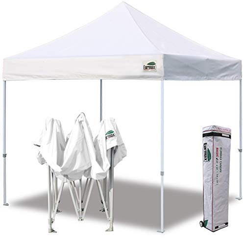Eurmax 10'x10' Ez Pop Up Canopy Tent Commercial Instant Shelter with Heavy Duty Carry Bag,White