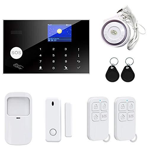 Semoic WiFi GSM Sistema de Alarma de Seguridad para el Hogar Kit de Alarma Antirrobo Inteligente Tuya con Detectores InaláMbricos de 433MHz Enchufe de la UE