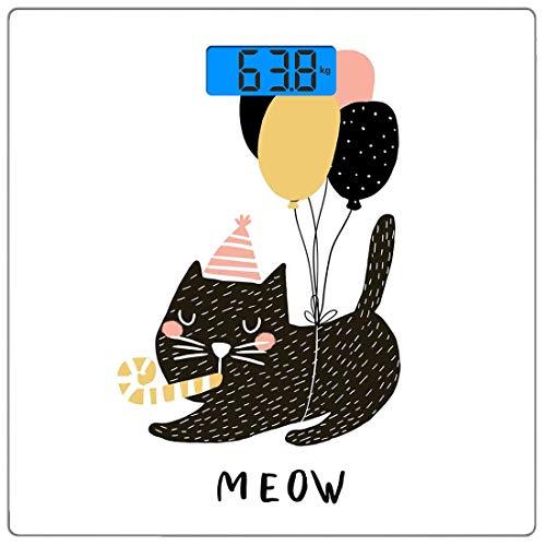 Escala digital de peso corporal de precisión Square Gato Báscula de baño de vidrio templado ultra delgado Mediciones de peso precisas,Fiesta de cumpleaños Felina con globo y gorro, mascota dibujada a