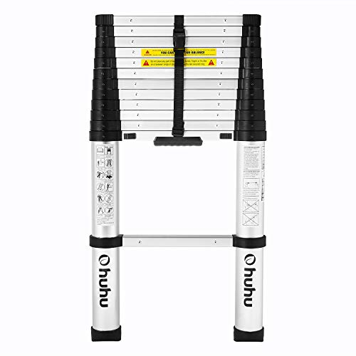 Ohuhu 12.5 FT Aluminum Telescopic Ladder with ONE-BUTTON RETRACTION Design, 330 Pound Capacity Telescoping Ladder (Used-Acceptable Condition))