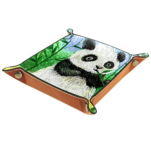 Leather Tray Organizer Giant Panda Bamboo Valet Tray Foldable Jewelry Tray Small Storage Box For Key Coin Phone Cosmetic 16x16cm