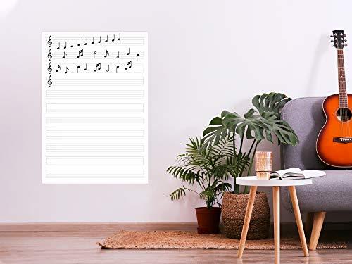 Oedim Decoración Pared Vinilo Adhesivo Pizarra Vinilo Laminado Brillo Tipo Veleda Pentagrama Vertical | 50 x 70 cm | Vinilo Ecológico | Protección, Decoración Pared Cocina |