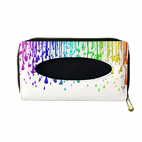 XYZCANDO Unique Paint Rainbow Color Car Accessories with 2 Hook Clip, Backseat Tissue Case Dispenser Portable for Women Girl, Durable Auto Mask Holder Tissue Box, PU Leather Car Visor Tissue Holder