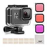 Deyard - Kit de filtros de Carcasa Impermeable para GoPro Hero 8, Color Negro con Carcasa Impermeable + 3 filtros + 12 Insertos antivaho