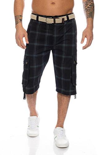 Fashion Herren Shorts Dehnbund Bermuda Kurze Hose Stretch ID230, Größe:XXL;Farbe:Schwarz