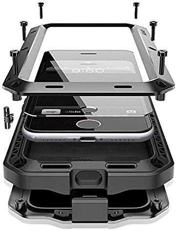 """CarterLily Compatible with iPhone 12/12 Pro 6.1"""" 2020, Full Body Shockproof Dustproof Waterproof Aluminum Alloy Metal Gorilla Glass Cover Case for iPhone 12/12 Pro 6.1 inch (Black)"""