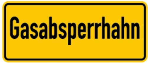 Schild Alu Gasabsperrhahn 100x240mm