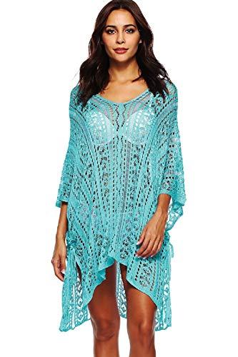 UMIPUBO Mujer Ropa de Baño Crochet Vestido de Playa V Cuello Camisolas y Pareos Bikini Cover up (Azul Claro)