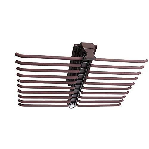 EURYTKS Appendiabiti per Armadio, Portapantaloni Estraibile Reversibile, Appendiabiti Estensibile per Cravatte, Portaoggetti per Guardaroba con paracolpi