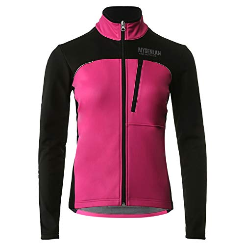 MYSENLAN Damen Fahrradjacke - Winddichte wasserdichte Fleecejacke - MTB Mountainbike Jacket - Visible reflektierend Fleece Warm Softshell Jacke für Herbst ( US:M , ASIA: XL) , Rosa