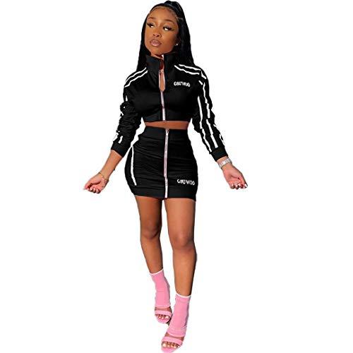 ZJFZML Petite Pullover for Women Ladies Fashion 2020 Blouse Prime Sweatpants 2 Piece Tracksuit Set Clothing Fashion Designer Tee Shirts Athletic Suit Trendy Outfit Elastic Outwear Black M